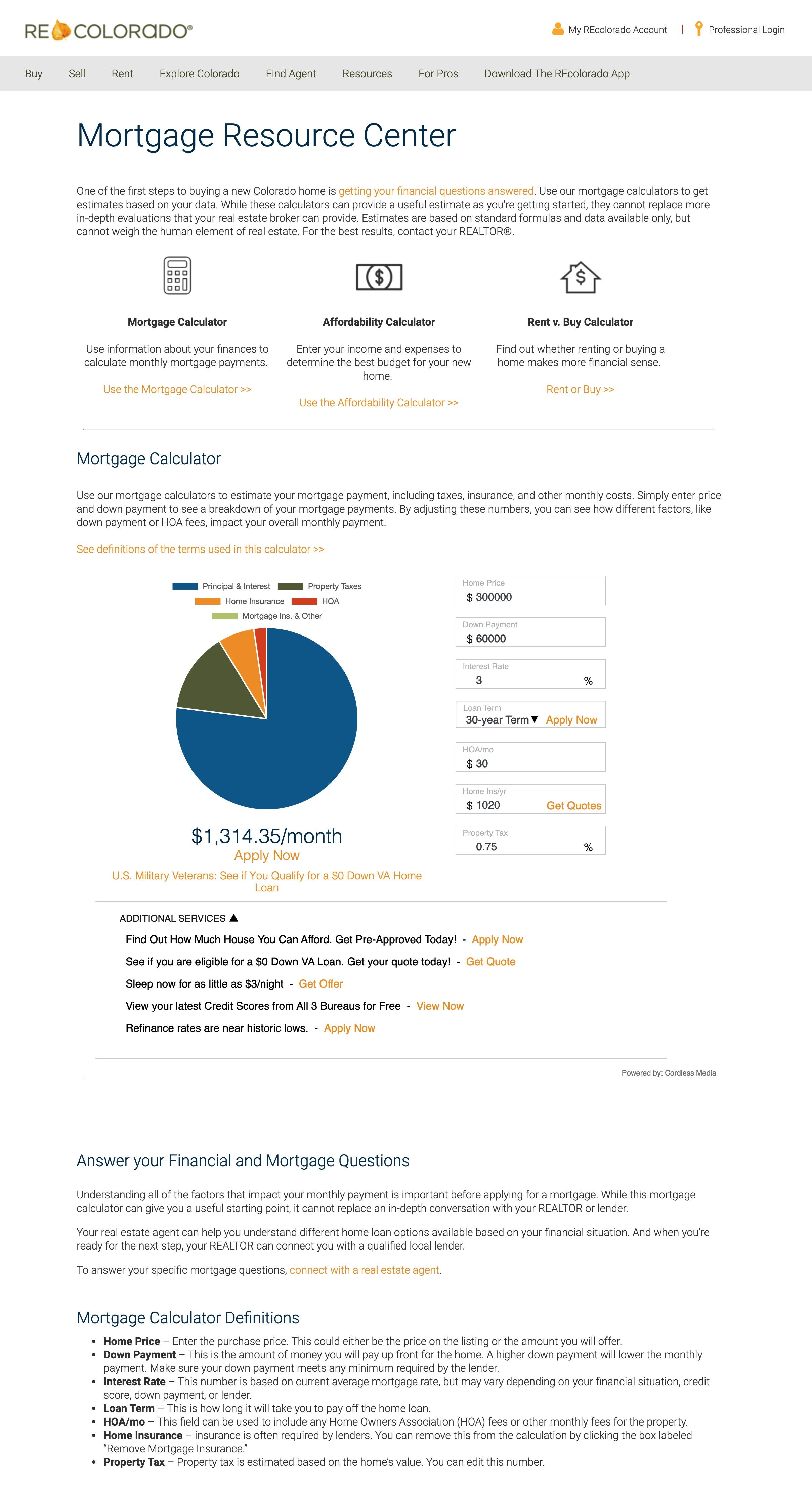 REcolorado Mortgage Calculator